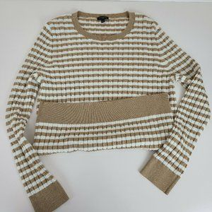 Talbots Pullover Sweater Womens Gold and White